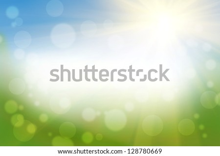 Spring Background with a sun and a bokeh effect and place for text