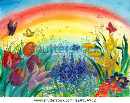 Spring background with colorful flowers:tulips,narcissus,grape hyacinth and rainbow in background.Picture I have created with watercolors.