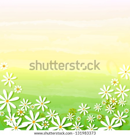 spring background with daisy flowers over beige green gradient