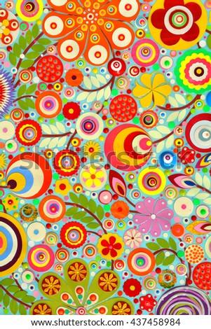Closeup view of an original painting … Stock Photo 447068893