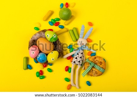 Spring background with traditional Easter symbols #1022083144