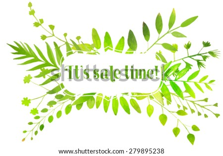 Spring banner with watercolor bright green leaves and text it's sale time. nature illustration. #279895238