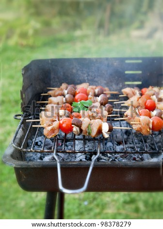 Spring barbecue: Chicken and vegetables barbecue in the garden