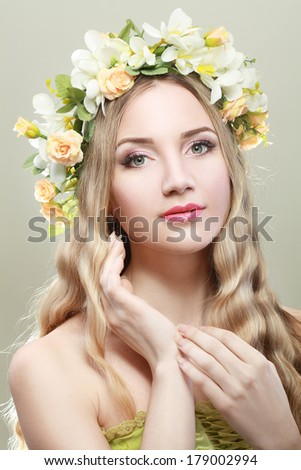 spring beauty portrait girl with wreath of flowers