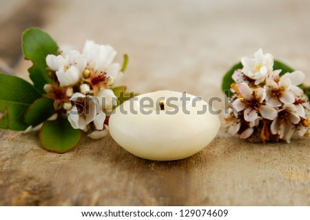 spring blossom flower and candle on old wooden
