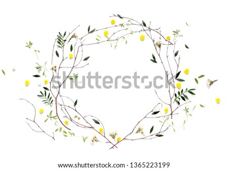 Spring botany flat lay background with blank space for a greeting text #1365223199