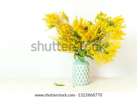 Spring bouquet of yellow mimosa flowers in turquoise vase against the light wall copy space. Gentle composition, concept of spring season, symbol of 8 March, happy women's day. Flower background  #1322868770