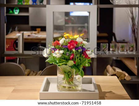 spring bouquet on table in home interior