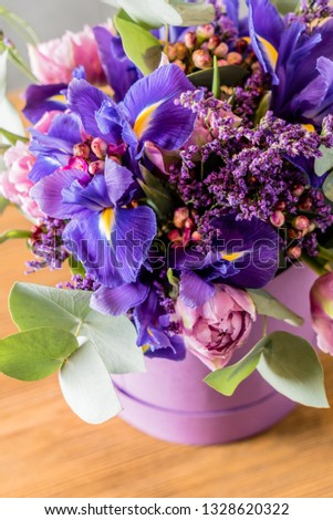 spring bouquet with irises