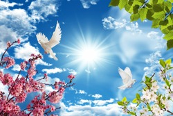 spring branches and doves with the sun in the background