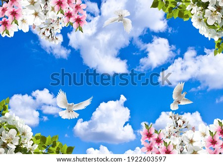 Spring branches and flying birds in the cloudy sky  Stok fotoğraf ©