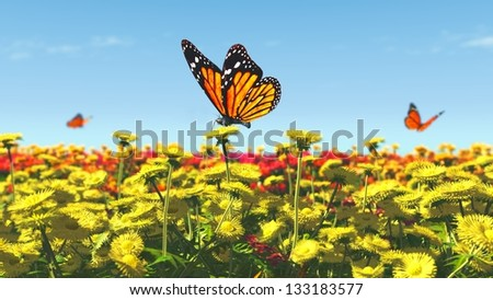 Spring butterfly flowers illustration 3D