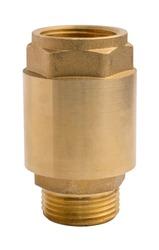 Spring check valve. Non-return brass valve, male - female thread. Isolated on a white background.