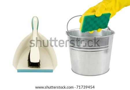 spring cleaning!-  dustpan and galvanized pail on a white background