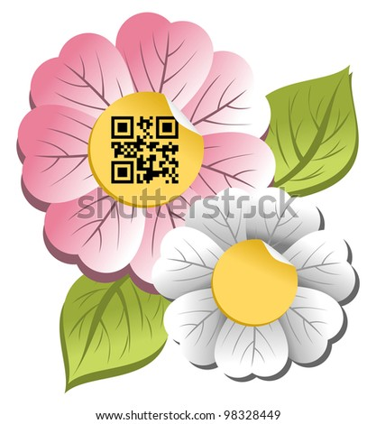 Spring concept: colorful flower with qr code label isolated over white background.