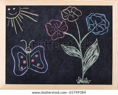 spring drawing on blackboard