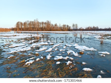 Spring flood. Sukhodrev river, Kaluga region, Russia - stock photo