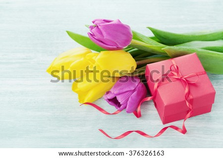 Spring flowers and gift box light table for March 8, International Womens day, Birthday or Mothers day