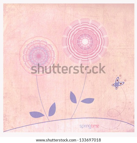 Spring flowers background with butterfly