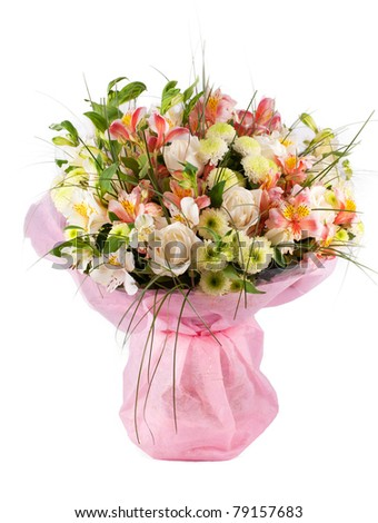 Spring flowers bouquet with a lot of different flowers