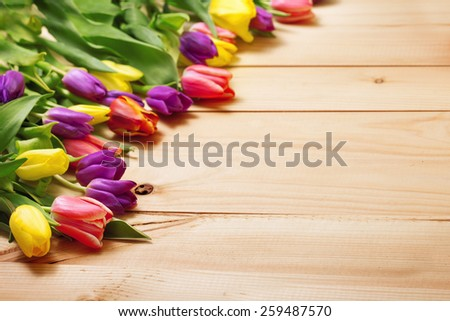 Spring Flowers bunch at wood floor texture. Beautiful Tulips bouquet gift. Easter or Mother\'s Day  background. Springtime or summertime. Invitation card design with space for your text