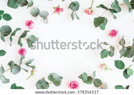 spring flowers. frame with rose ...