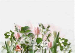 Spring flowers on white paper background. greeting card with spa