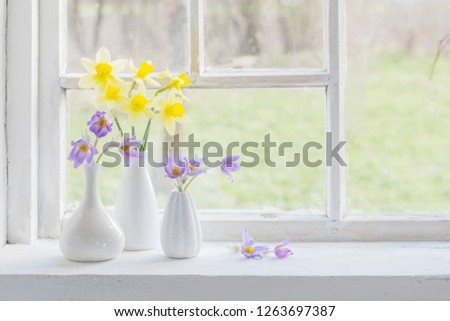 spring flowers on windowsill
