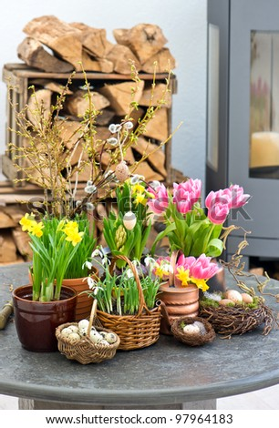 spring flowers with easter eggs decoration. tulips, snowdrops and narcissus blooms