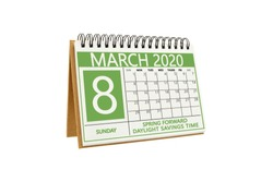 Spring Forward Daylight Savings Time March 8 Calendar white background