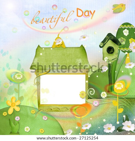 spring frame with birdhouse