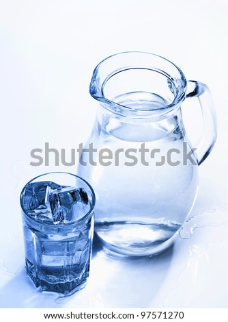 Spring fresh water in the glass with ice cubes