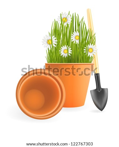 Spring Gardening. Chamomile flowers with green grass in flower pot and small garden shovel on white background. Raster illustration. Vector file included in portfolio