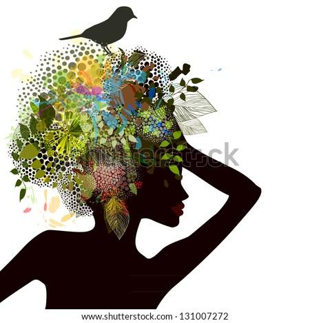 Spring girl with a bird. Raster