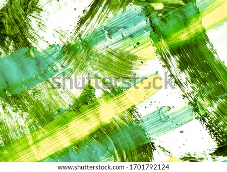 Spring Green Summer Hand Drawn Dirty Art. Leafy Color Sunny Acrylic Graffiti. Organic Color Yellow Organic Template. Lime Green Mustard Acrylic Painting. Natural Green Sunny Oil Painting.