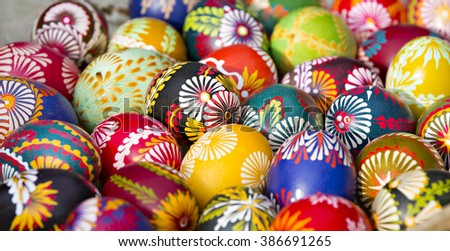 Spring, handmade painted Easter eggs