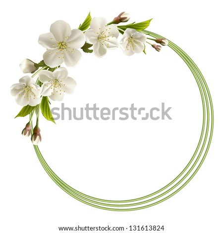 Spring header with white cherry flowers, buds and copy space.