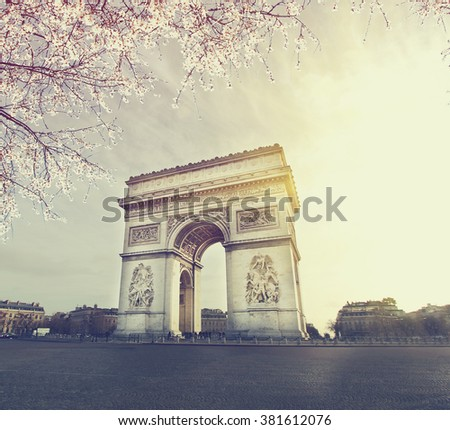 Spring in Paris . Vintage colored picture. Business, Love and travel concept