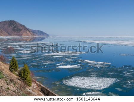 Spring in the south of Lake Baikal in Circum-Baikal railroad #1501143644