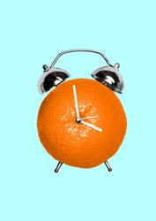 Spring is time for vitamins. A clock or alarm with juicy orange as a body and white arrows on blue background. Healthy food, diet, fitness and sport concept. Modern design. Contemporary art collage.