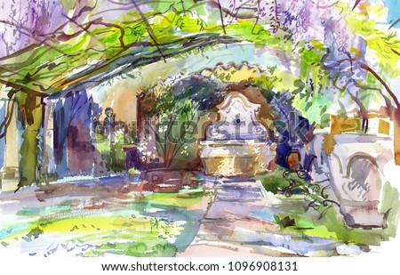 Spring Italian garden with flowering wisteria