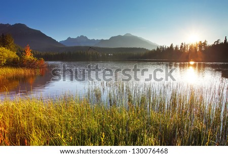 Spring lake nature with sun in Slovakia mountain - Strbske pleso