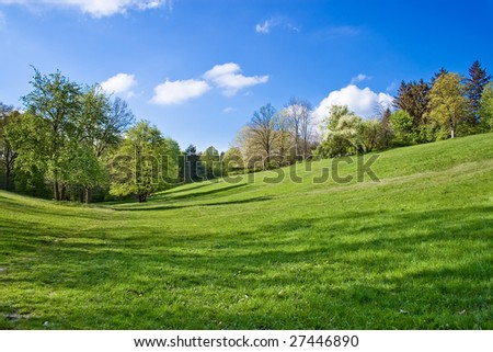 spring landscape - green fields and  blue sky