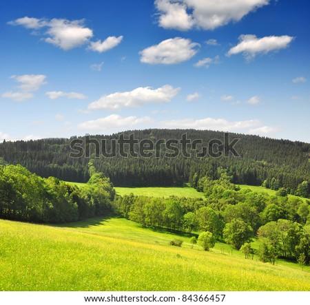 Spring landscape in the national park Sumava - Czech Republic
