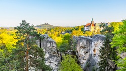 Spring landscape panorama of Bohemian Paradise, Czech: Cesky Raj. Hruba Skala castle and Trosky ruins. Czech Republic.