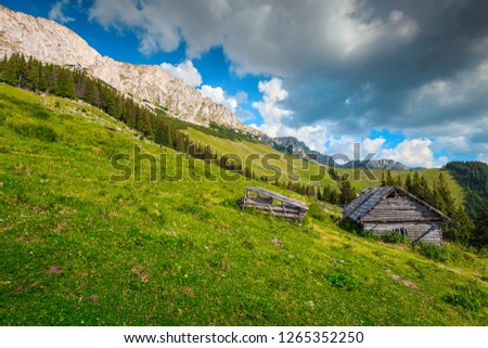Spring landscape, rickety wooden house in the mountains, Carpathians, Transylvania, Romania, Europe