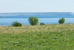 Spring landscape with a view of the Volga River in the Saratov region