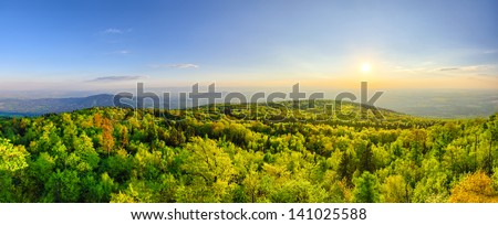 Spring landscape with fresh green forest on Sleza mountain, Poland