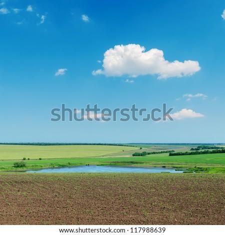 spring landscape with pond under blue sky