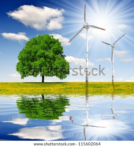 spring landscape with wind turbines